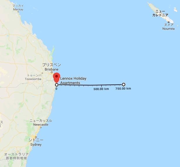 ニューサウスウェールズ州のレノックス・ヘッドから直線750kmの位置